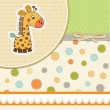 New baby announcement card with giraffe — Stock Photo