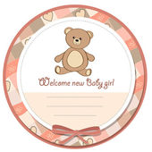 Baby shower card with teddy — Stock Photo