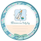 Baby announcement card with milk bottle and pacifier — Stock Photo