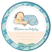 Baby boy shower card with little baby — Stock Photo