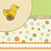 Baby shower card with duck toy — Stock Photo