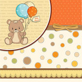 Baby shower card with cute teddy bear — Stock Photo