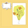 Thank you greeting card with flower — Stock Vector