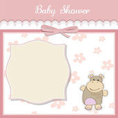 New baby girl announcement card with hippo — Stock Photo