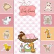 Stock Photo: Baby shower card with little baby girl