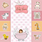 Baby shower card with little baby girl — Stok fotoğraf