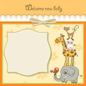Baby shower card with funny pyramid of animals — Vecteur