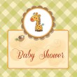 New baby announcement card with giraffe — Stock Photo #11446461