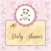 New baby girl announcement card with cow — Cтоковый вектор