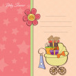 Постер, плакат: Baby shower card with gift boxes in the pram