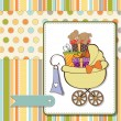 Royalty-Free Stock Photo: Baby shower card with gift boxes in the pram