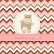 Childish baby shower card with hippo toy — Stock Photo
