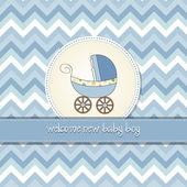 Carte de douche de bébé délicat avec landau — Photo