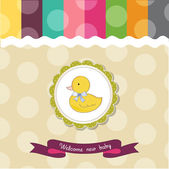 Baby shower card with duck — Stock Photo
