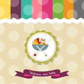 Funny baby shower card with pram and cat toy — 图库照片