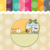 Baby shower card with funny animals — Stock Photo