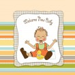 Baby boy playing with his duck toy, welcome baby card — Stock Photo