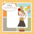 Funny girl with balloon, birthday greeting card — Stock Photo
