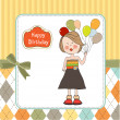 Funny girl with balloon, birthday greeting card — Stock Photo #11936058