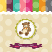 Baby shower card with cute teddy bear toy — Stock Photo
