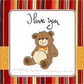 Love card with a teddy bear — Stock Photo