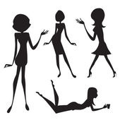 Silhouette of women — Stock Photo