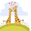 Stockfoto: Funny giraffe couple in love