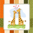 Stock Photo: Funny giraffe couple in love