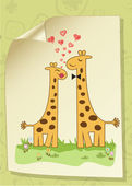 Funny giraffe couple in love — Stock Photo
