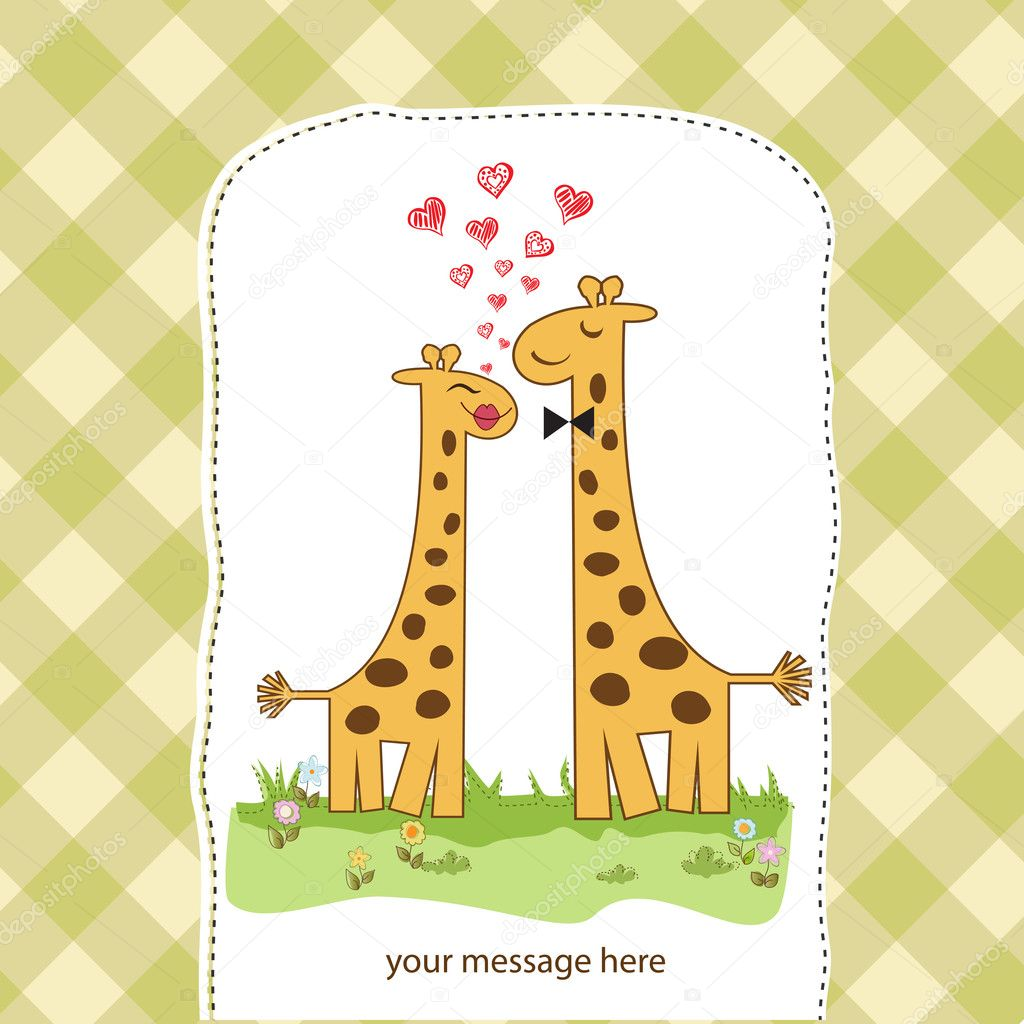 Funny giraffe couple in love — Stock Photo #12077470