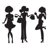 Silhouette of three cute fashion girls isolated on white background — Stock Photo