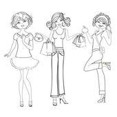 üç sevimli moda kızlar, siyah-beyaz vektör illüstrasyon izole beyaz zemin üzerine — Stok fotoğraf