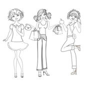 Three cute fashion girls, black and white vector illustration isolated on white background — Stock fotografie
