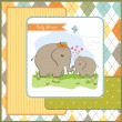 Stock Photo: Baby shower card with baby elephant and his mother