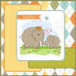 Baby shower card with baby elephant and his mother — Stock Photo