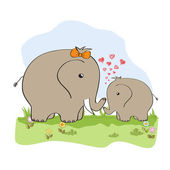 Scheda di bambino doccia con elefantino e sua madre — Foto Stock