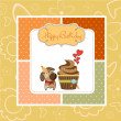 Birthday greeting card with cupcake and little dog — Stock Photo