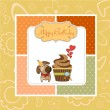 Birthday greeting card with cupcake and little dog — Stock Photo #12352308