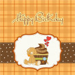 Stock Photo: Birthday greeting card with cupcake and puppy toy