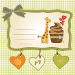 Birthday greeting card with cupcake and giraffe — Stock Photo #12352436