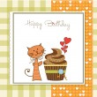 Birthday greeting card with cupcake and cat — Stockfoto