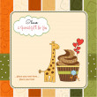 Birthday greeting card with cupcake and giraffe — Stock Photo