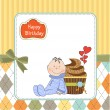 Birthday greeting card with cupcake and little baby — Stock Photo
