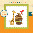 Royalty-Free Stock Photo: Birthday greeting card with cupcake and giraffe