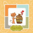 Birthday greeting card with cupcake and cat — Stock Photo #12353404