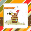 Birthday greeting card with cupcake and funny bee — Stock Photo #12353437