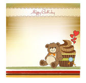 Birthday greeting card with cupcake and teddy bear — Stock Photo