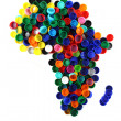 Royalty-Free Stock Photo: Africa map from color plastic caps