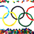 Olympics games symbol from color plastic caps — Stock Photo