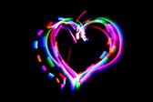 Heart from the color lights — Stock Photo